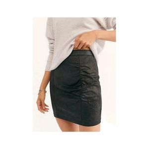 Free People Ruched Faux Leather Black Mini Skirt